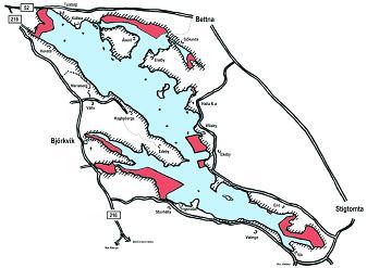 Fiskevatten som ingår i fiskekortet.